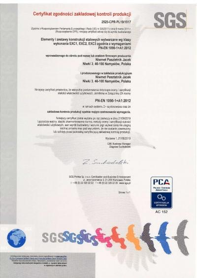 Certyfikat zgodności zakładowej kontroli produkcji_Niwmet_237182